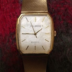 Vintage Helbros S gold watch